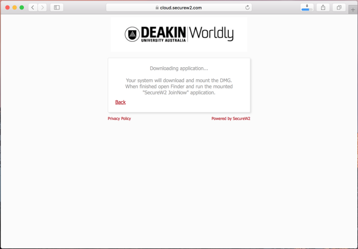 "Please wait as the ""WiFi_Deakin_University_Wrapper.dmg"" file is downloaded"