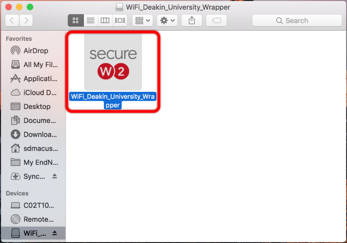Once opened, please open the WiFi_Deakin_University_Wrapper executable file