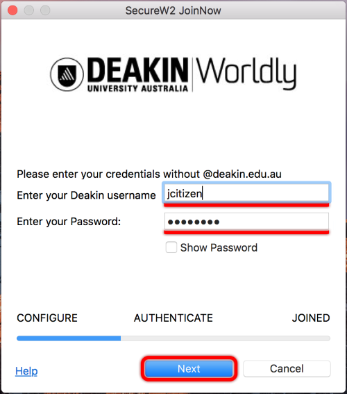 In the JoinNow program, fill in your Deakin Username (NO @deakin.edu.au), and your Deakin Password