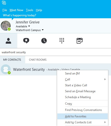 How do I add Security to my contacts in Skype for Business